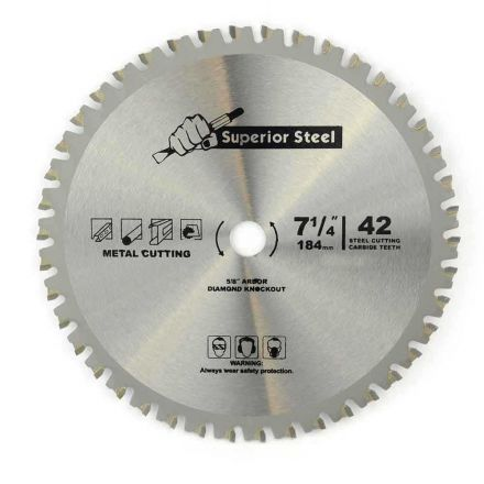 "Superior Steel 18542 7-1/4"" 42 Teeth 5/8"" Arbor Metal Ferrous Cutting Carbide Tipped Saw Blade"
