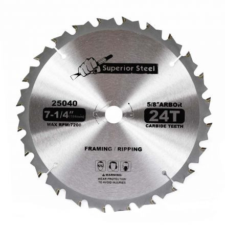 Superior Steel 25040 7-1/4-Inch 24-Tooth Carbide Tipped, 5/8-Inch Arbor Framing Saw Blade with Diamond Knockout for Skil Saw – Replaces 75724W Irwin 14030 / 24030 / Freud D0724A / Dewalt DW3578B3
