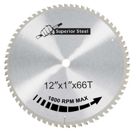 "Superior Steel 30066 12"" x 66 Teeth x 1"" Arbor Metal Cutting Carbide Tipped Saw Blade"