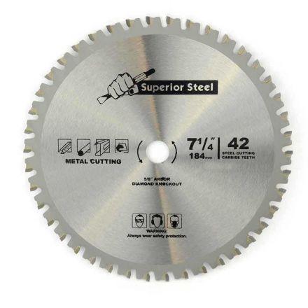 "Superior Steel 18542 7-1/4"" 42 Teeth 5/8"" Arbor Metal Ferrous Cutting Carbide Tipped Saw Blade"