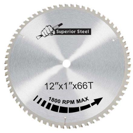 "Superior Steel 30066 12"" x 66 Teeth x 1"" Arbor Metal Cutting Carbide Tipped Saw Blade"