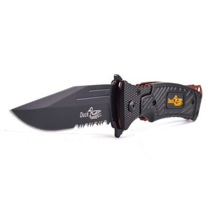 Superior Steel SS733 4-1/2 Inch Duck-USA Commandos Metal Handle Tactical Stainless Steel Serrated Spring Assisted Folding Knife (Black) with Pocket Clip & Black Handle