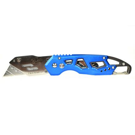 Superior Steel UK751 Folding Utility Pocket Knife Box Cutter with Belt Clip, Easy Release Button, Quick Change and Lock-Back Design - Blue